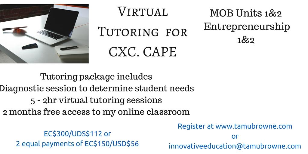 Virtual Tutoring for CXC. CA